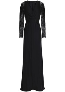 Roberto Cavalli Woman Velvet-trimmed Embellished Crepe Gown Black