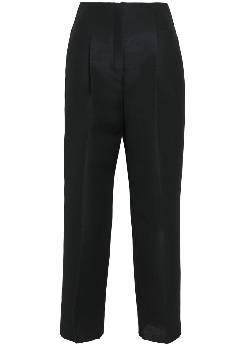 Roberto Cavalli Woman Wool And Mohair-blend Straight-leg Pants Black