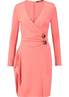 Roberto Cavalli Woman Wrap-effect Embellished Stretch-jersey Dress Blush