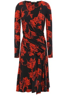 Roberto Cavalli Woman Wrap-effect Floral-print Stretch-jersey Dress Black