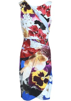 Roberto Cavalli Woman Wrap-effect Floral-print Stretch-jersey Mini Dress Multicolor