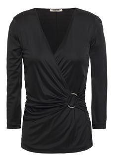 Roberto Cavalli Woman Wrap-effect Gathered Satin-jersey Top Black