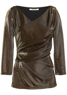 Roberto Cavalli Woman Wrap-effect Metallic Jersey Top Bronze