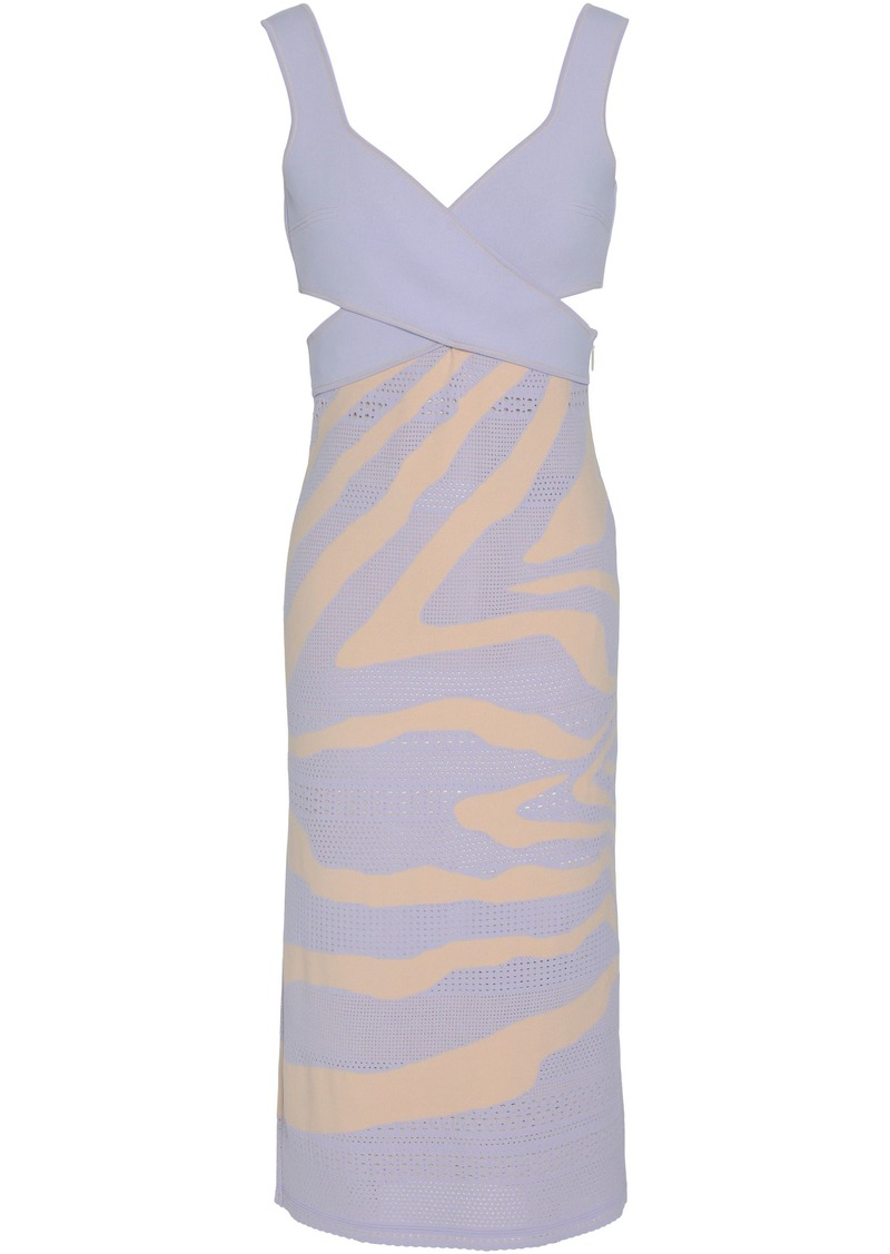 Roberto Cavalli Woman Wrap-effect Pointelle And Stretch-knit Dress Lavender