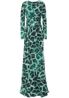 Roberto Cavalli Woman Wrap-effect Tie-dyed Stretch-jersey Maxi Dress Emerald