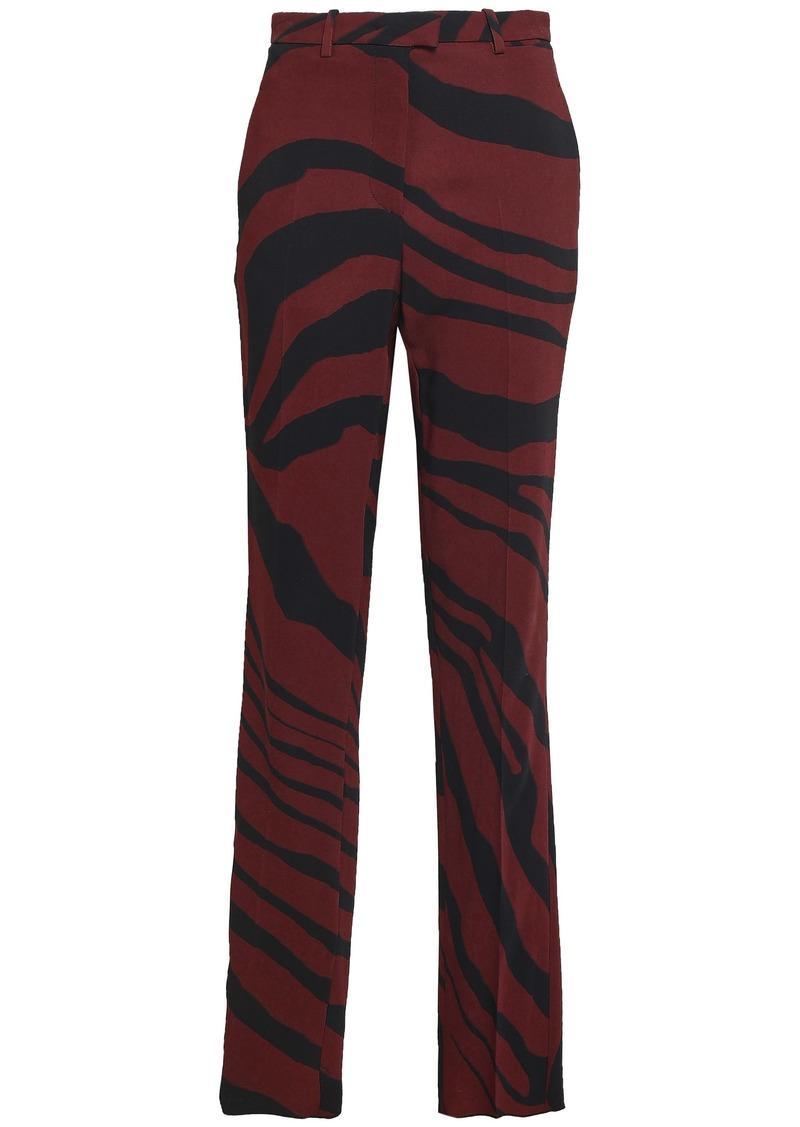 Roberto Cavalli Woman Zebra-print Crepe Straight-leg Pants Brick