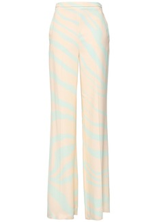 Roberto Cavalli Woman Zebra-print Crepe Wide-leg Pants Pastel Orange