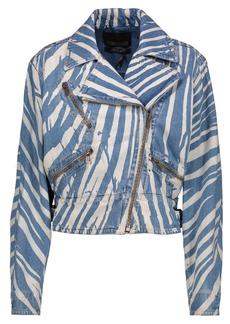 Roberto Cavalli Woman Zebra-print Denim Biker Jacket Blue