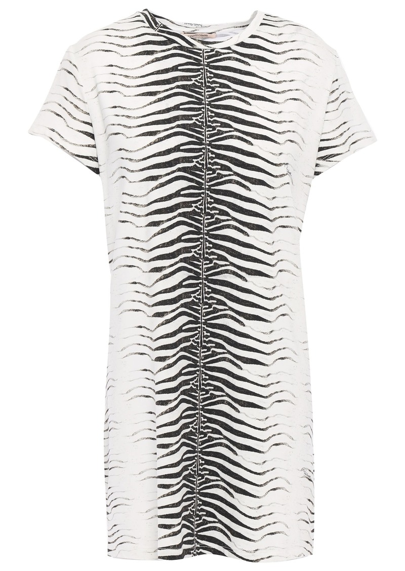 Roberto Cavalli Woman Zebra-print Jersey Mini Dress Off-white