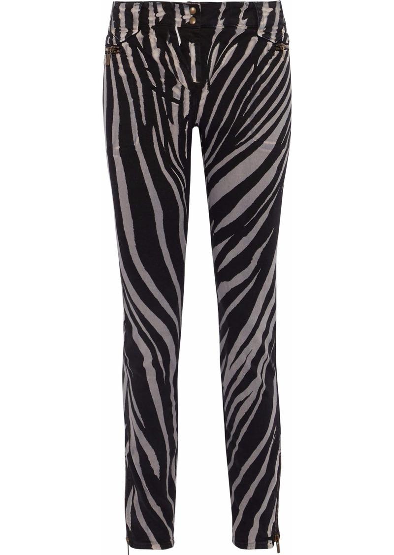 Roberto Cavalli Woman Zebra-print Mid-rise Skinny Jeans Black
