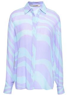Roberto Cavalli Woman Zebra-print Silk-georgette Blouse Lavender