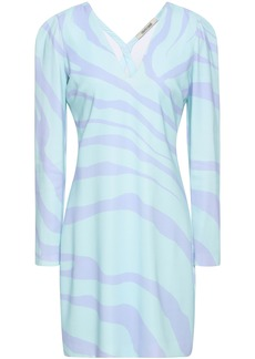 Roberto Cavalli Woman Zebra-print Stretch-crepe Mini Dress Mint