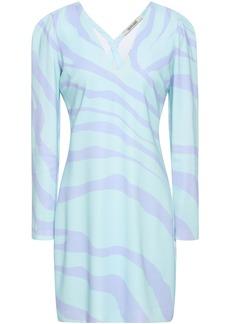 Roberto Cavalli Woman Zebra-print Stretch-crepe Mini Dress Mint