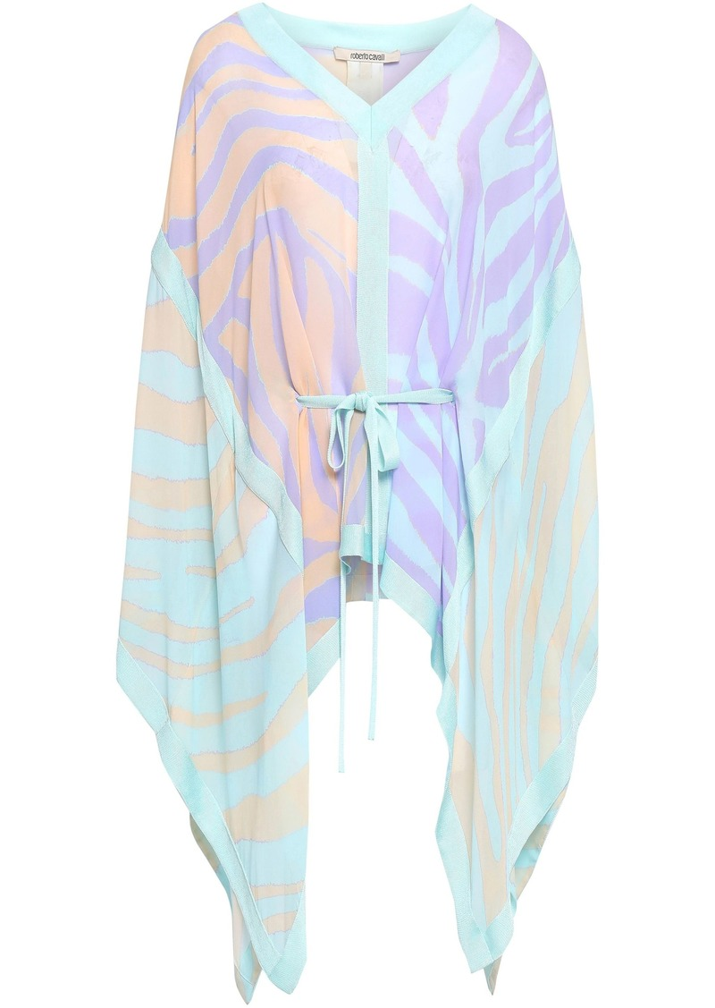 Roberto Cavalli Woman Zebra-printed Silk-georgette Top Mint
