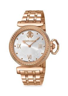 Roberto Cavalli Rose Goldtone Stainless Steel Dial Watch