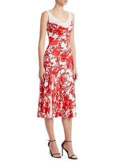 Roberto Cavalli Rose Print Liquid Viscose Jersey Dress