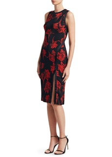 Roberto Cavalli Rose Print Sheath Dress