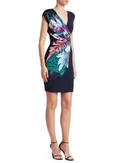 Roberto Cavalli Ruched Floral Mini Dress