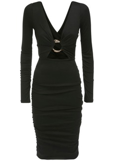 Roberto Cavalli Ruched Wool Dress W/ Metal Buckle