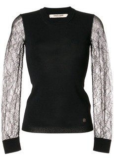 Roberto Cavalli sheer lace sleeves knitted top