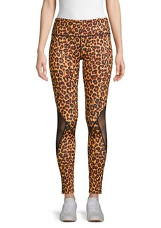 Roberto Cavalli Side-Mesh Cheetah-Print Leggings