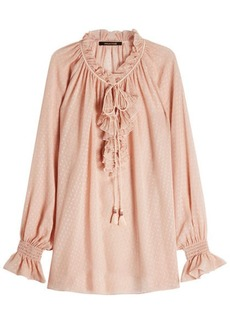 Roberto Cavalli Silk Blouse with Ruffles and Tassels