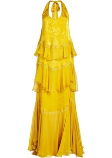 Roberto Cavalli Silk Gown with Lace