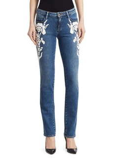 Roberto Cavalli Skinny Embroidered Jeans