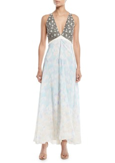 Roberto Cavalli Sleeveless V-Neck Leopard-Print Chiffon Evening Gown w/ Embellished Bust