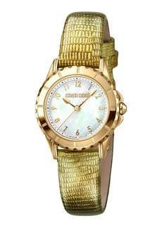 Roberto Cavalli Small Embossed-Leather Watch  Gold