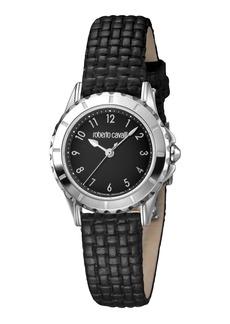 Roberto Cavalli Small Embossed-Leather Watch  Steel/Black