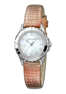 Roberto Cavalli Small Embossed-Leather Watch  Steel/Pink