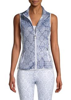 Roberto Cavalli Snake-Print Zip Vest