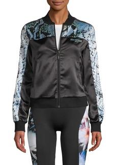 Roberto Cavalli Snakeskin-Print Embellished Cropped Track Jacket
