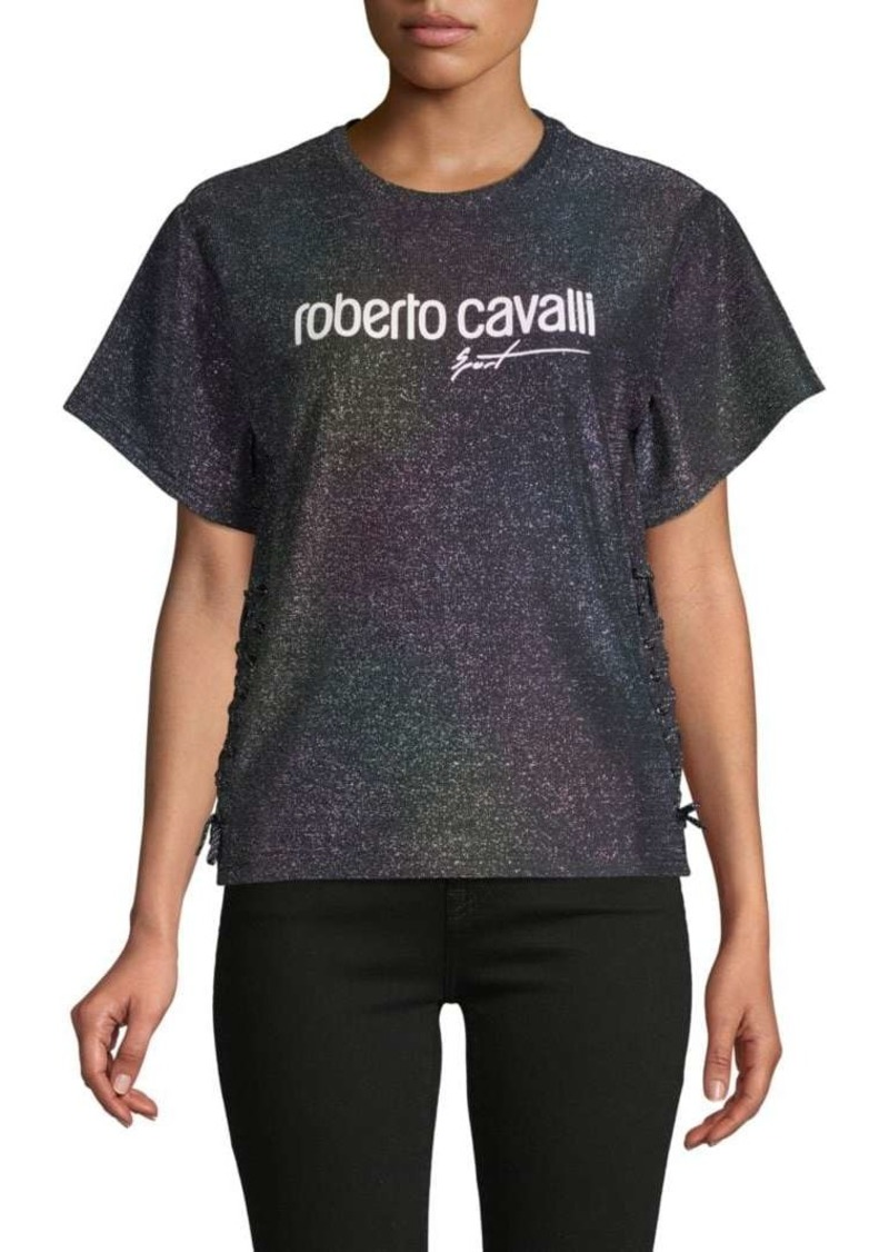 Roberto Cavalli Sparkle Lace-Up Tee