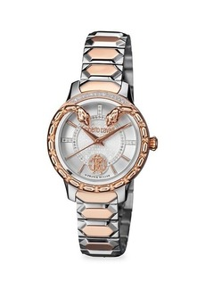 Roberto Cavalli Stainless Steel & Diamond Bracelet Watch
