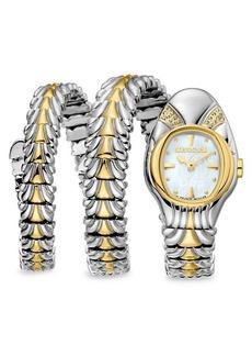 Roberto Cavalli Stainless Steel & Diamond Snake Bracelet Wrap Watch