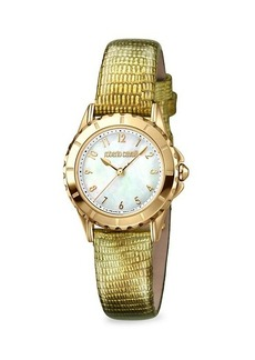 Roberto Cavalli Stainless Steel & Leather-Strap Watch