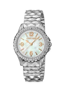 Roberto Cavalli Stainless Steel & Mother-Of-Pearl Bracelet Watch