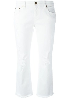 Roberto Cavalli stretch ripped cropped jeans
