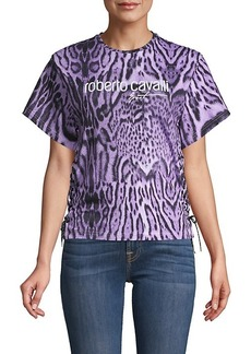 Roberto Cavalli Summer Print Cotton-Blend Top