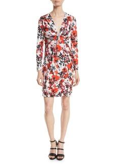 Roberto Cavalli Thistle Abstract-Print Jersey Long-Sleeve V-Neck Mini Dress
