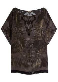 Roberto Cavalli Top with Metallic Thread and Velvet