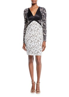 Roberto Cavalli V-Neck Long-Sleeve Retro Leopard-Print Stretch-Jersey Dress