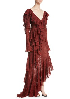 Roberto Cavalli V-Neck Long-Sleeve Ruffled Feather-Lace Gown