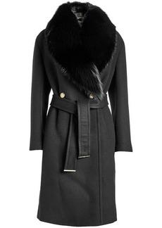 Roberto Cavalli Virgin Wool Coat with Fox Fur