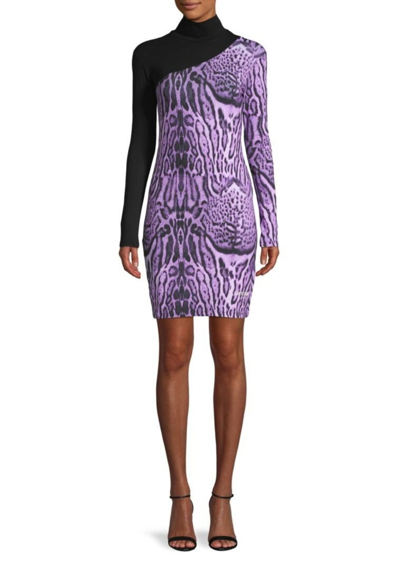 Roberto Cavalli Wild-Print Stretch-Cotton Mini Sheath Dress