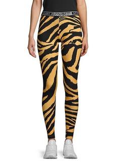 Roberto Cavalli Zebra-Print Stretch Cotton Leggings