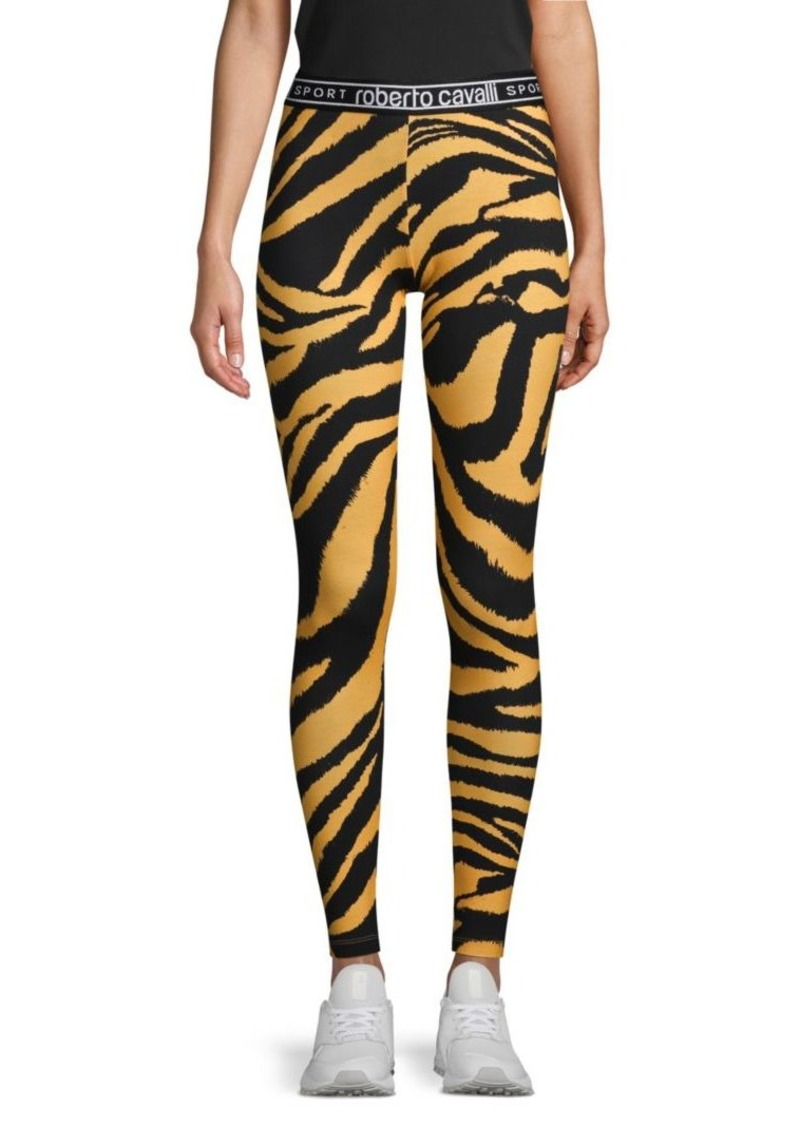 Roberto Cavalli Zebra-Print Stretch Cotton Leggings