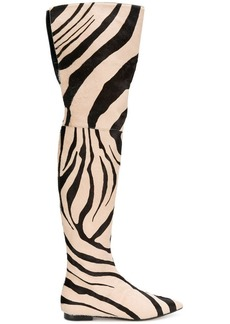 Roberto Cavalli zebra print thigh boots